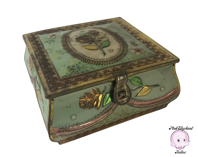 Shabby Chic Hinged Tin Dresser Box Light Aqua with Embossed Pink Rose Motif & Latch - Vintage Romantic Keepsake Jewelry Box - Unique Tea Tin