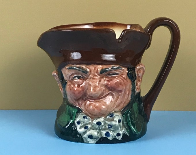 Old Charley Toby Jug Creamer Pitcher by Royal Doulton - Vintage English Toby Mugs - Strange Winking Head Teacup - Grumpy Old Man Coffee Cup