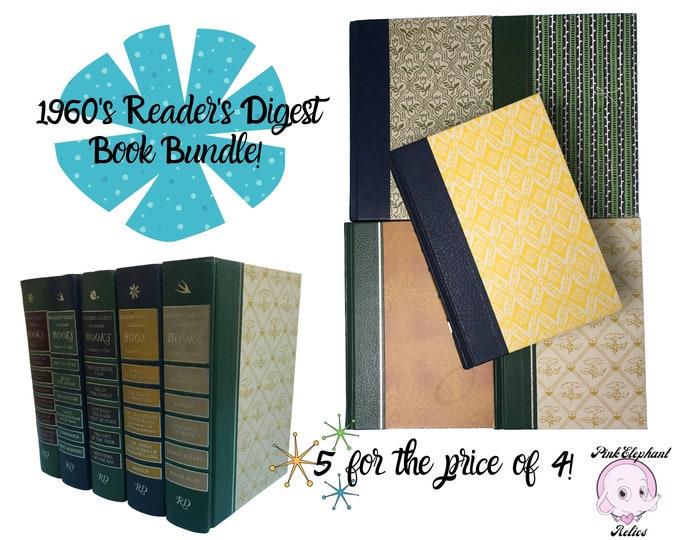 Vintage Book Stack for MCM Home Decorating - 5 Retro Mod Reader's Digest Books - 1960's Bookshelf Staging - Vintage Blue Green Library Decor