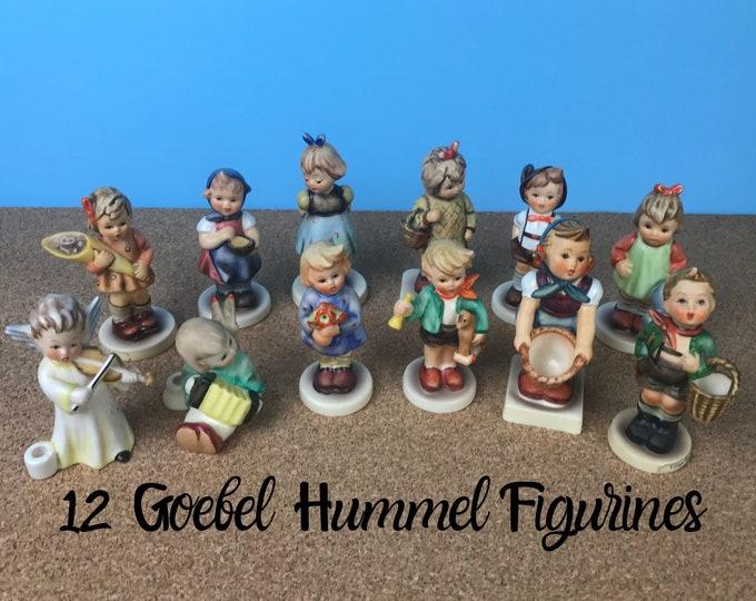 "Lot of 12 Vintage Authentic Goebel Hummel German Children Figurines - Instant Estate Collection of 4"" Hummels w/ Blue Mark Made in Germany"