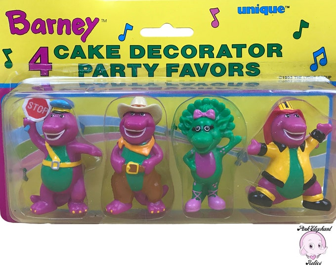4 Barney Cake Toppers / Party Favor Set - 1993 Purple Dinosaur Crossing Guard, Cowboy, Fireman Barney & Baby Bop Birthday Party Decorations