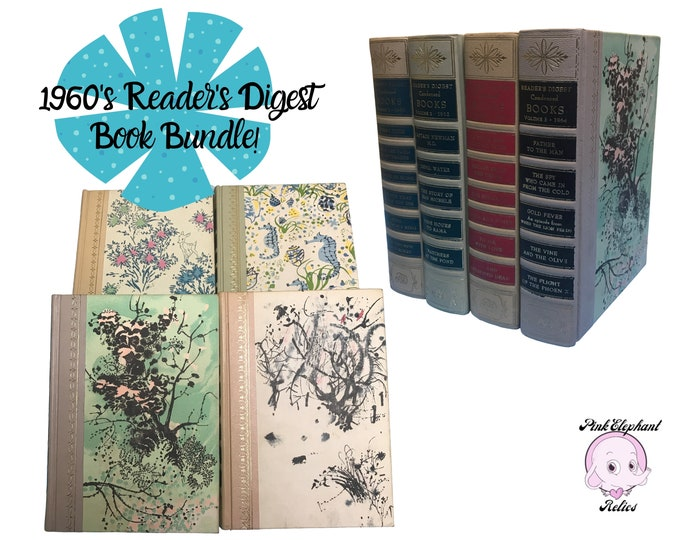 Vintage First Edition Book Bundle of 1960's Readers Digest Condensed Books w/ Mod Covers - MCM Abstract Art, Seahorses, Baby Deer, Willows