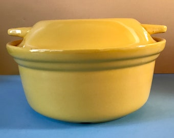 Vintage Sunshine Yellow Covered Casserole Pan Early Oxford Ware Pottery - 20's Art Deco Flat Lidded Glazed Stoneware Serving Bowl & Lid Tray