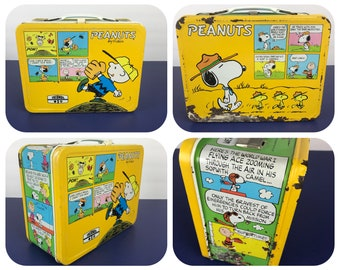 Vintage Peanuts Metal Lunchbox - 1965 Yellow Snoopy & Charlie Brown Tin Comic Lunch Box w/ White Handle - Baseball Red Baron Scout Master