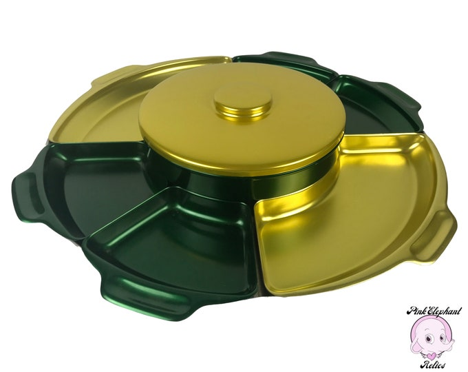 """HUGE 18"""" Vintage Anodized Aluminum Lazy Susan Serving Tray - 9 pc MCM Retro Metallic Green & Gold Yellow Swiveling Divided Appetizer Platter"""