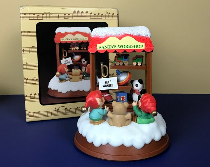 "1984 Enesco ""Santa's Workshop"" Christmas Music Box Plays ""Toyland""- Vintage 80s Toy Shop Elves Holiday Musical Decoration / Curio Ornament"
