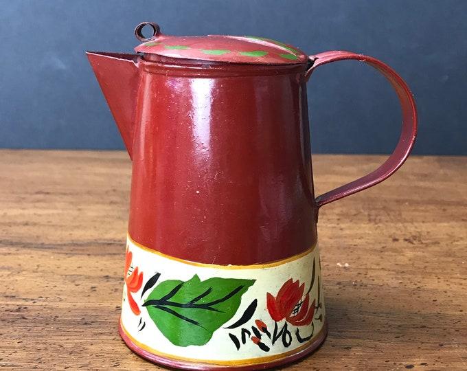 Vintage Metal Creamer / Cream Pitcher Hand Painted & Signed by Artist - Toleware Mini Tea Pot - Pennsylvania Dutch Tole Farmhouse Folk Art