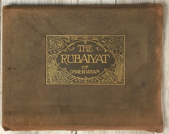 Rubaiyat Of Omar Khayyam Published by The Roycrofters 1922 Brown Suede Leather Bound Antique Book with Gold Gilt Cover Text - Rare Old Books
