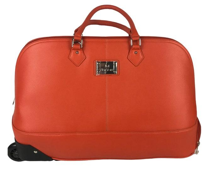 Fabulous Rolling Travel Case in Striking Retro Orange by JM New York Designer Wheeled Duffle Suitcase -Like New Orange Overnight Bag Luggage
