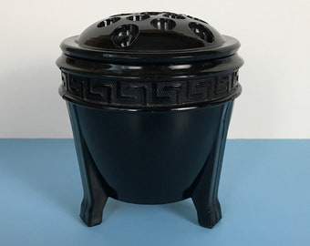 Art Deco LE Smith Black Amethyst Glass Urn Vase & Flower / Fern Frog in Greek Key Pattern - Sexy Retro Modern Parlor or Lounge Staging Decor
