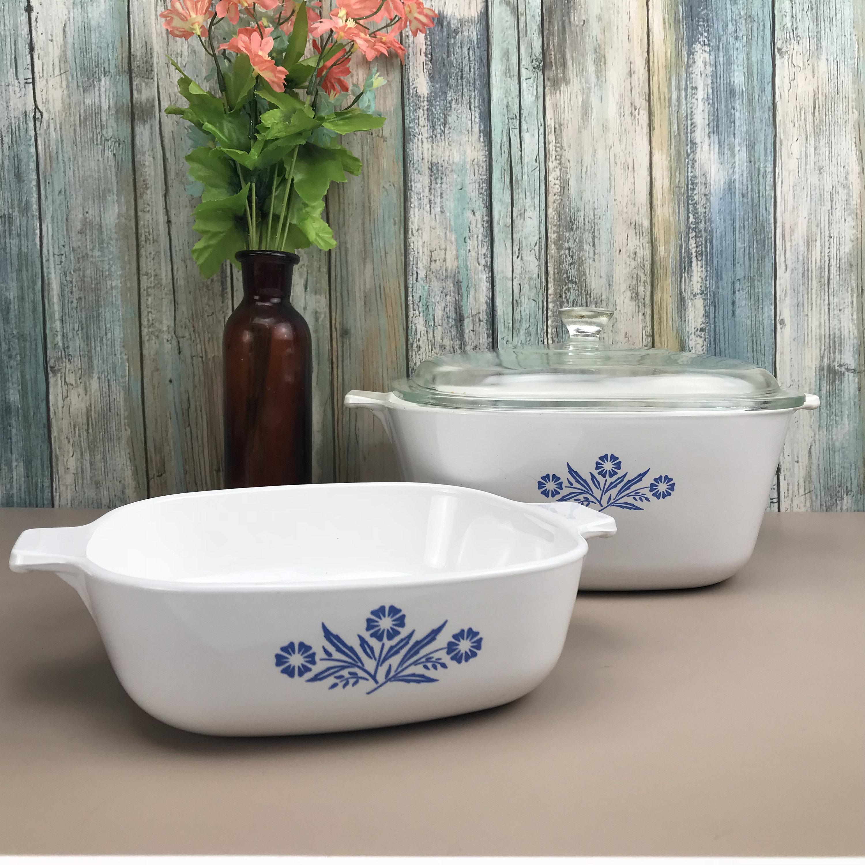 Corning Ware Pans Blue Cornflower Casserole Dishes 2 Vintage