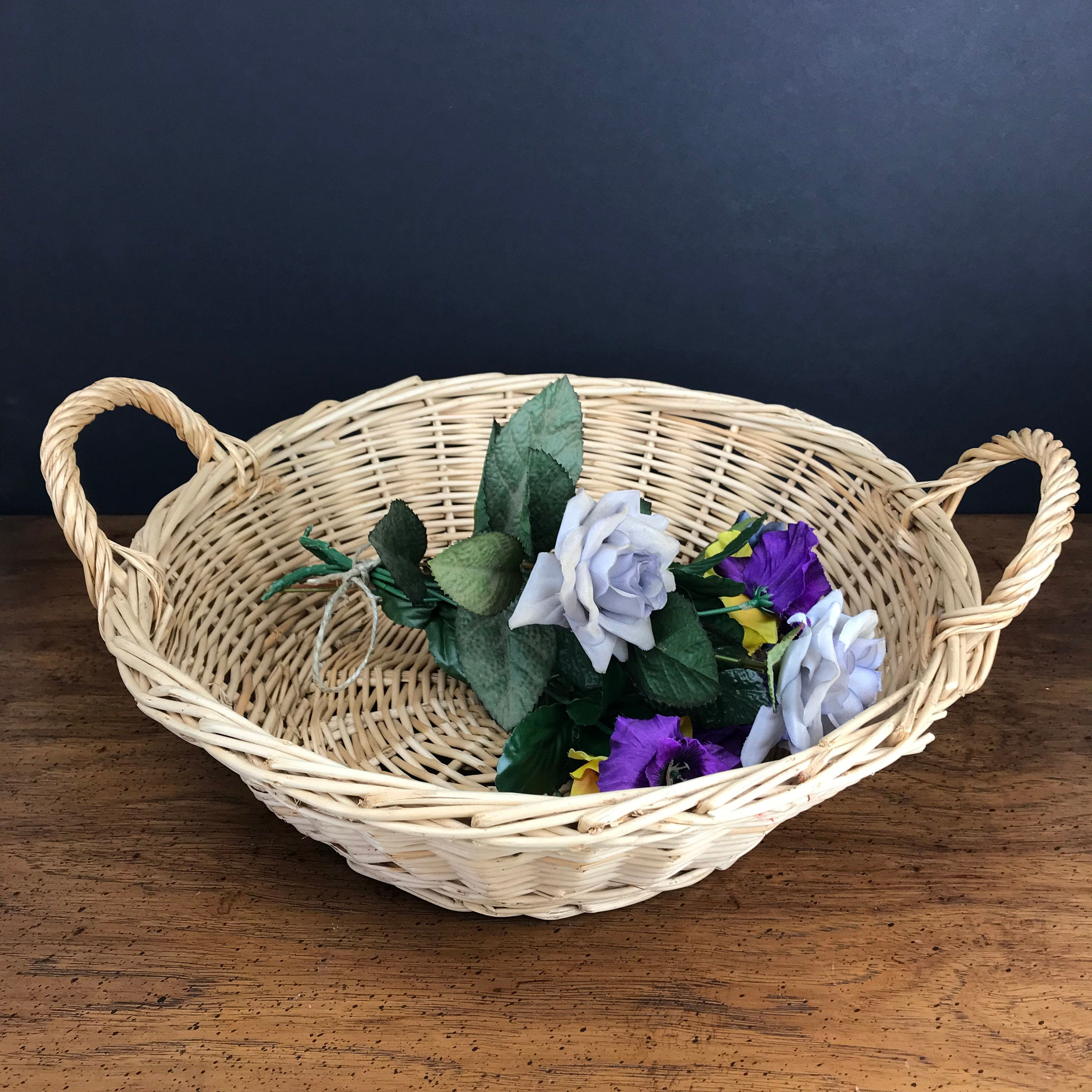 Garden Vintage Flower Basket Gathering Woven Harvest Rattan Wicker HI2DE9