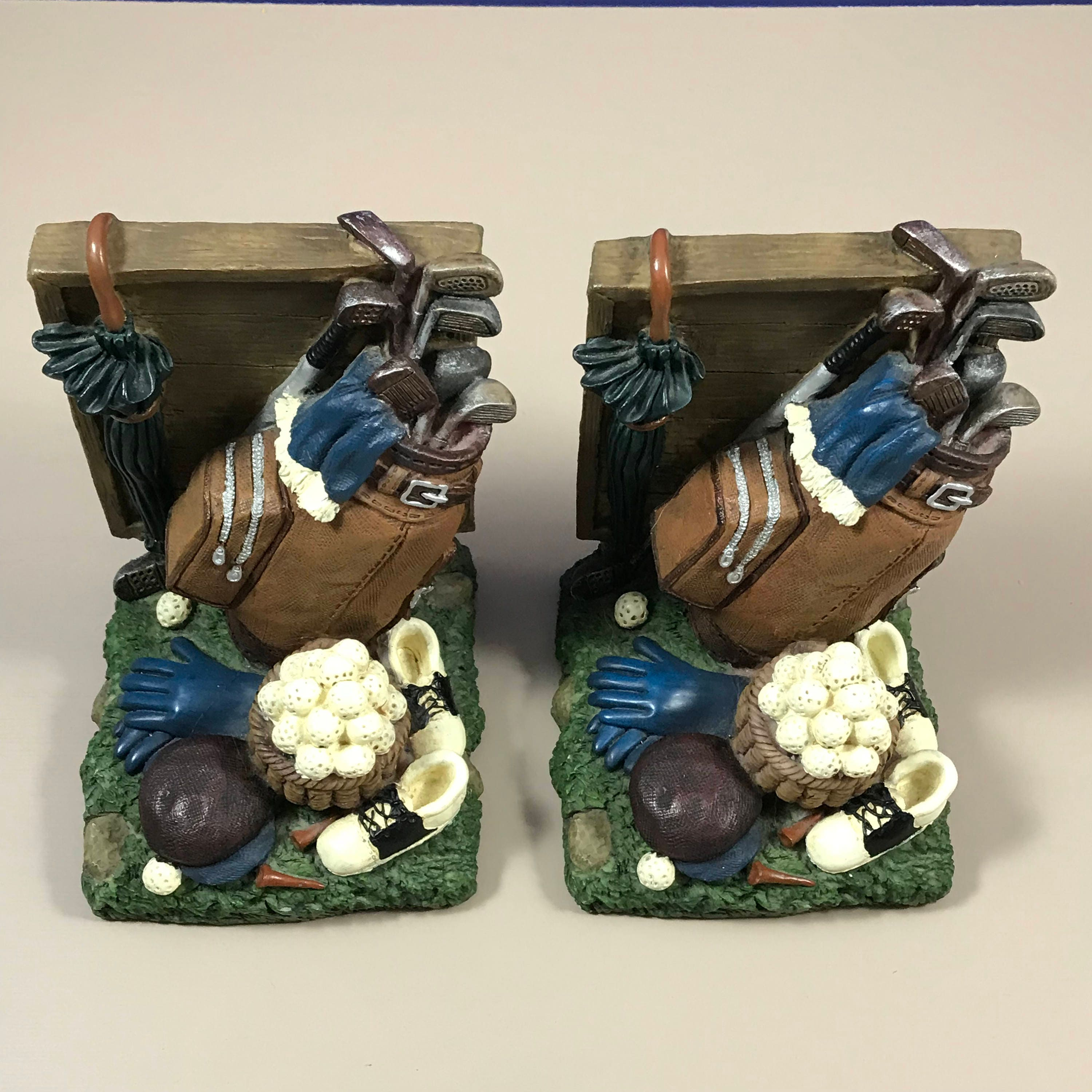 Golf Theme Bookends Set Of Golfing Book Ends Country