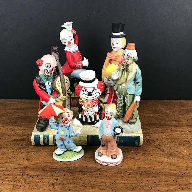 8654dc306bac8 Vintage Ceramic Clown Figurines Lot - 7 Hobo Clowns Statuettes - Mid  Century Modern Kitsch Shelf Statues - Kitschy Cute Circus Nursery Decor