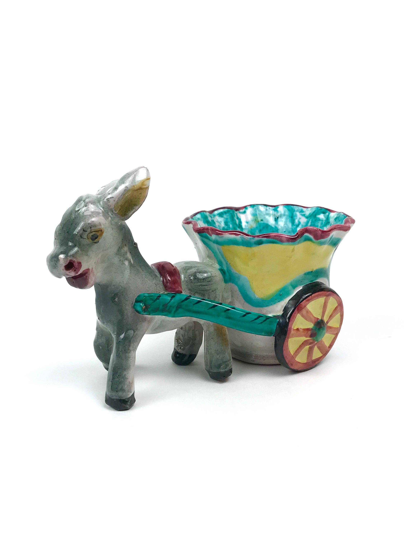 Italian Donkey & Cart - Vintage Majolica Donkey Planter - Small ...