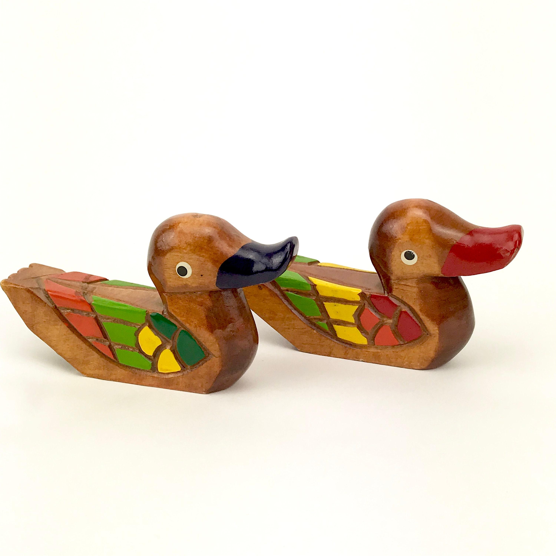 Carved Wood Mandarin Ducks For
