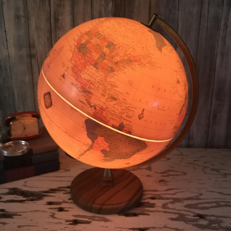 Vintage Light Up Globe On Wood Base Cram S Antique World