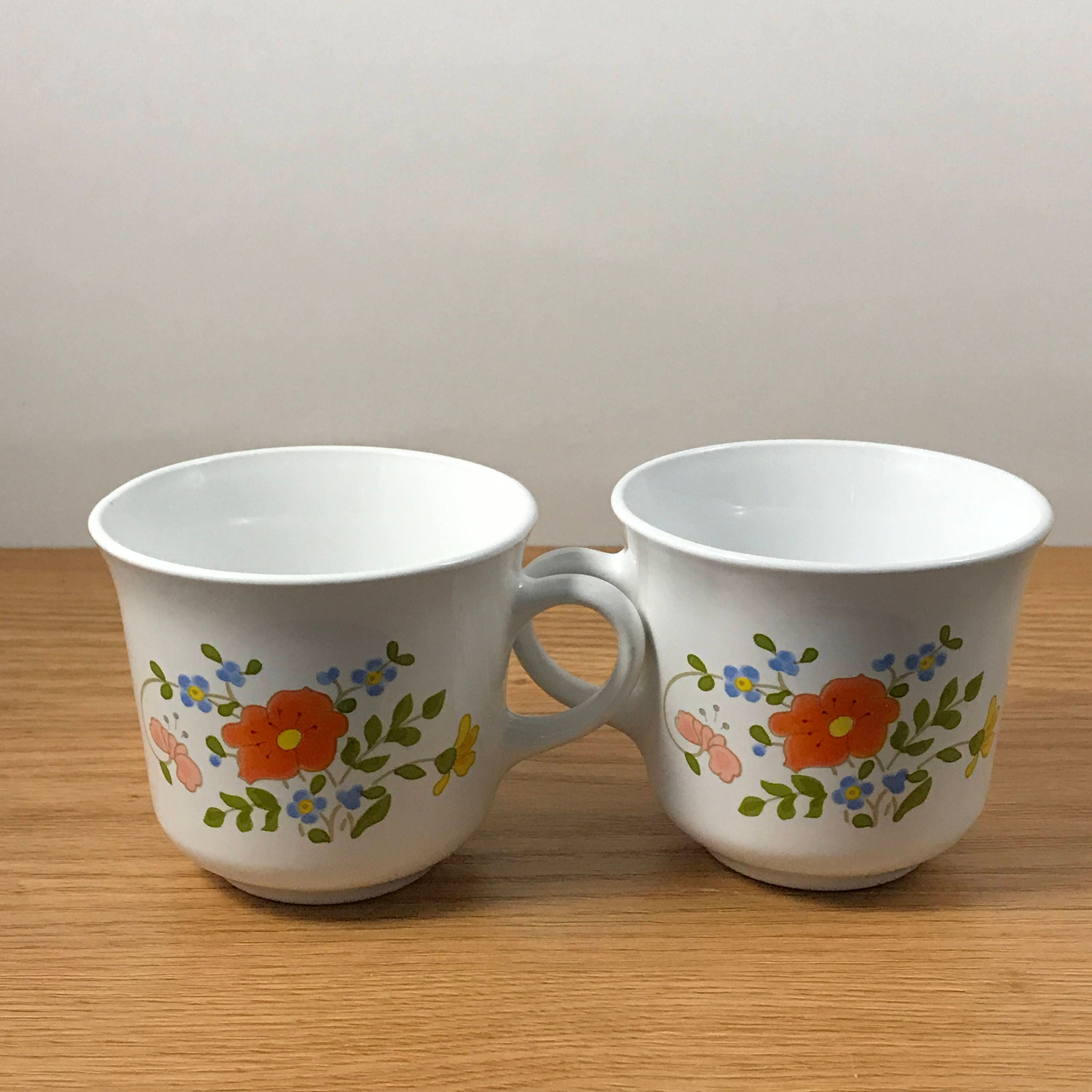 2 Corning Ware Wildflower Cups Corelle Pyrex Replacement Mugs