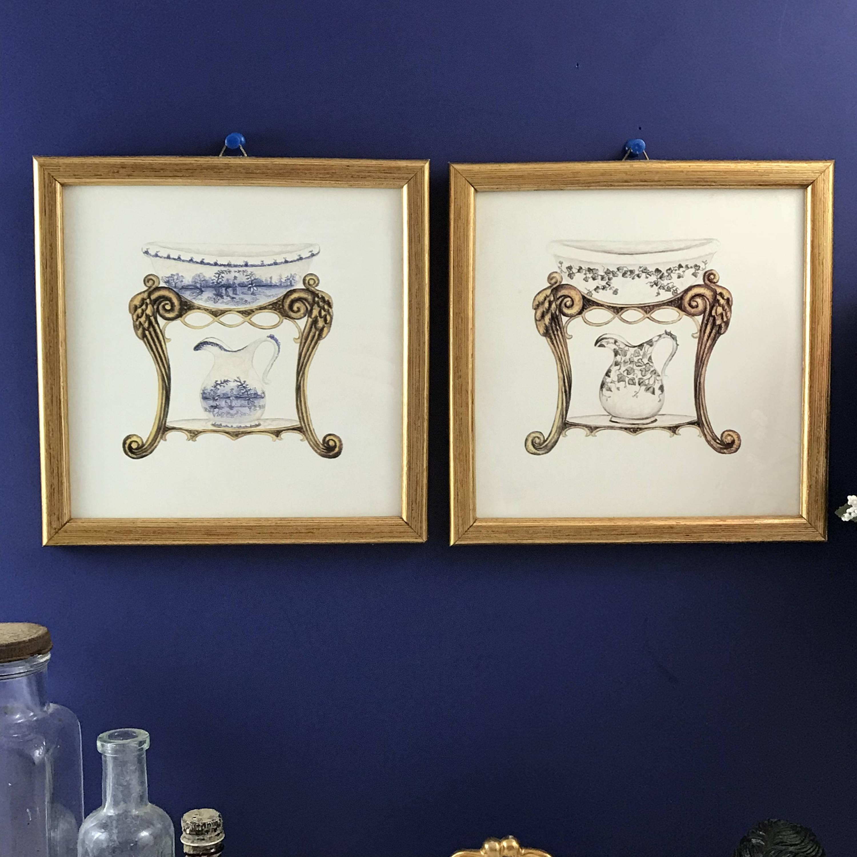 Bathroom Art Nouveau: Vintage Bathroom Wall Art Set