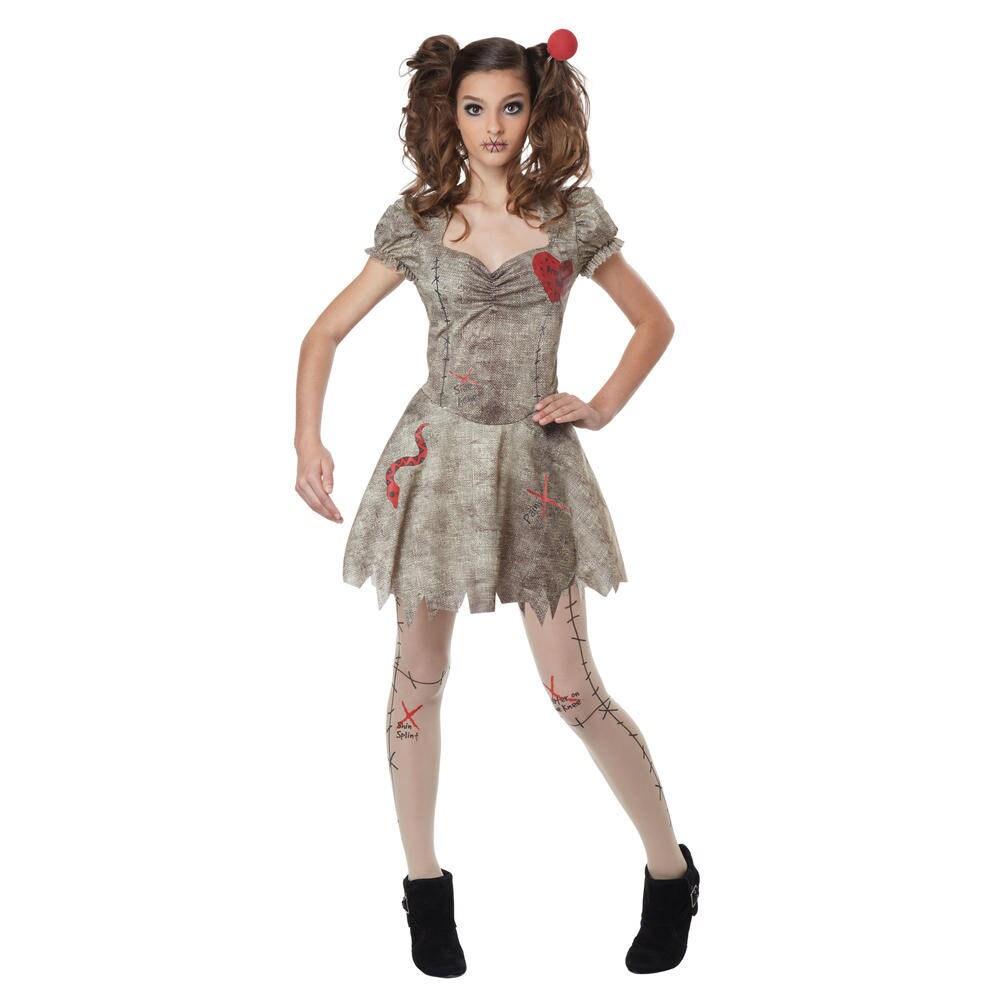 teen junior size s/m (3-5) voodoo doll costume - halloween party