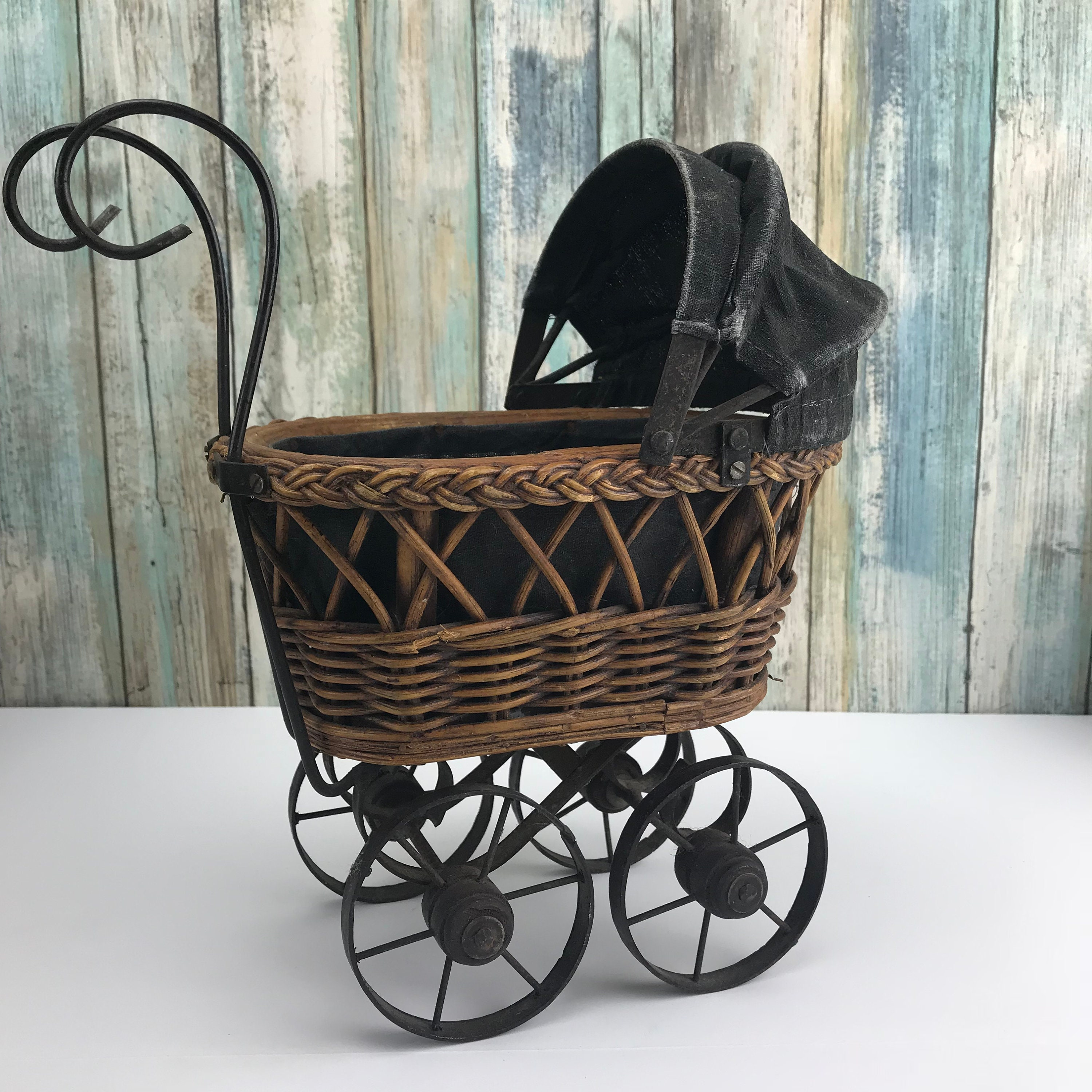 Vintage Wicker Amp Wrought Iron Mini Baby Buggy Basket W