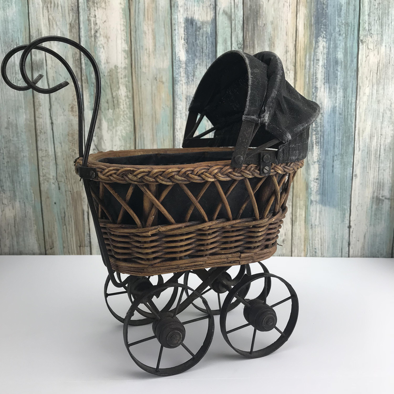 Vintage Wicker Amp Wrought Iron Mini Baby Buggy Basket W Wheels Old Fashion Doll Pram