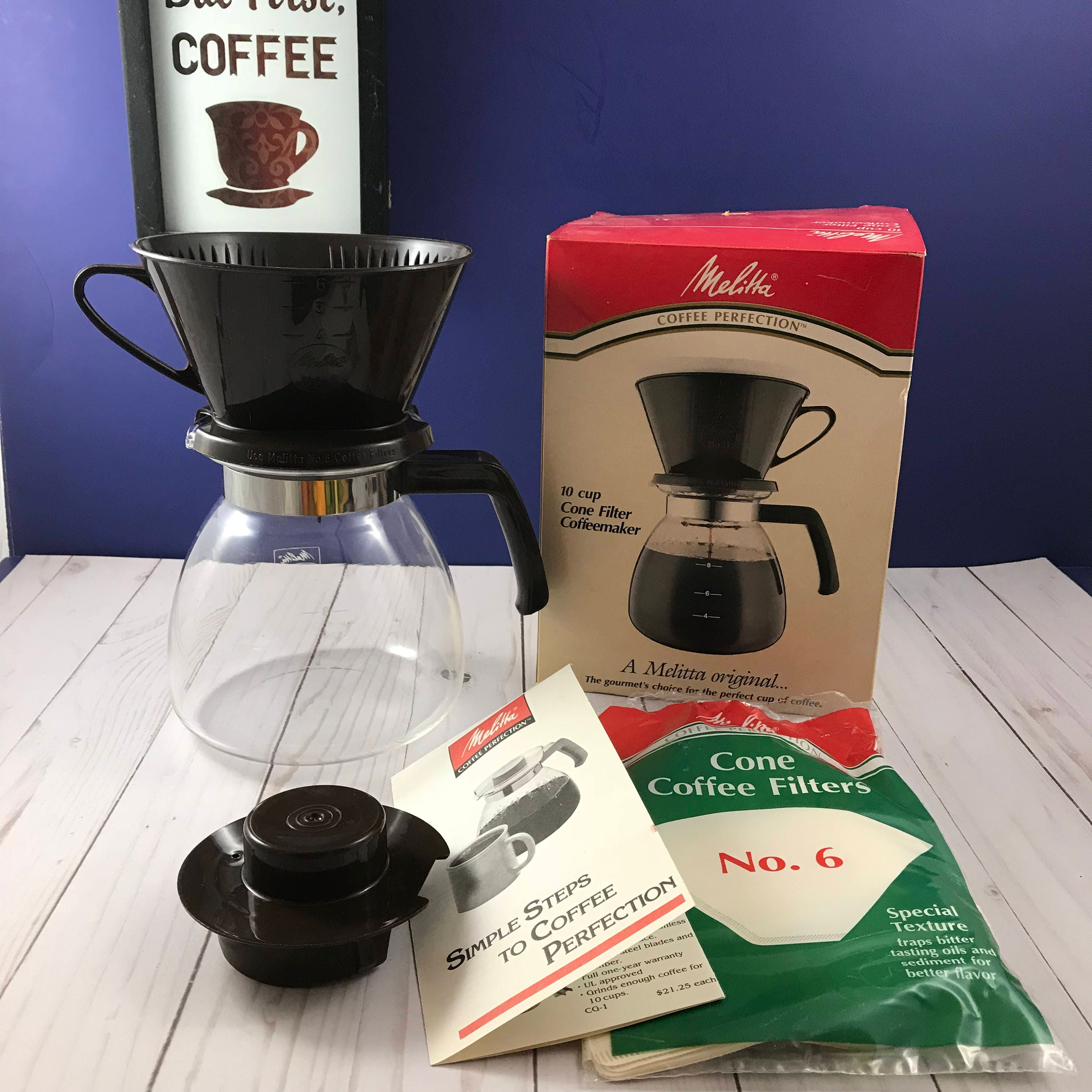 melitta cone filter pour over coffee maker 10 cup pot carafe manual drip coffee dripper. Black Bedroom Furniture Sets. Home Design Ideas