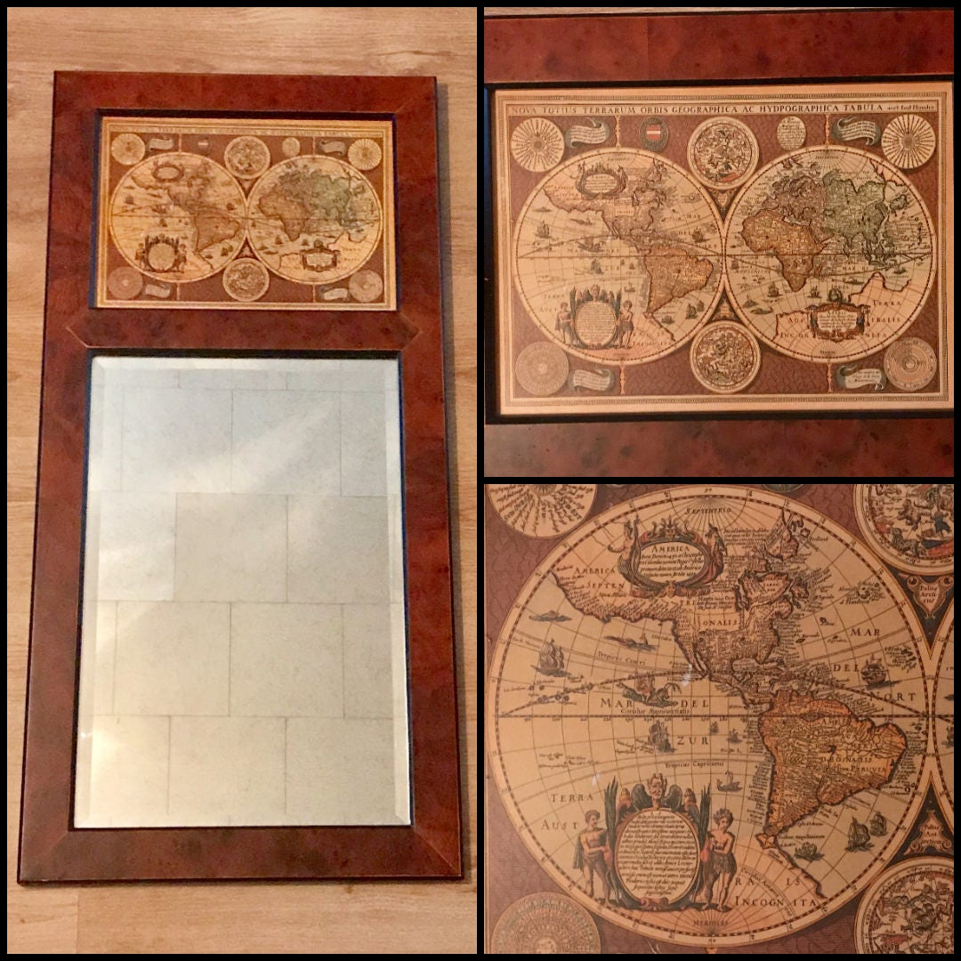 Old World Map Amp Mirror Wall Hanging 35 Wood Frames
