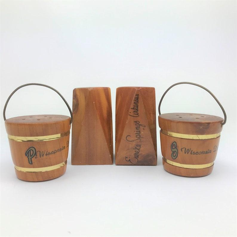 Danish Modern- Instant Collection Wisconsin Souvenirs Wooden Water Buckets 1960/'s Kitsch 2 Vintage Wooden Salt /& Pepper Shaker Sets