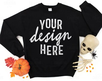 MOCKUP Gildan 18000 G180 Black Crew Sweater Halloween Jeans Shoes Sweatshirt Skull Candy Corn Spider Spooky Flat Lay Mock Up JPEG File