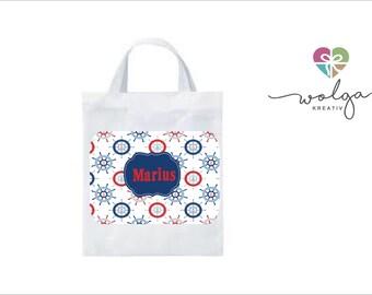 044af9e34711f Stofftasche mit Namen Kinder Muster personalisiert viele Motive Kindergarten  Schule