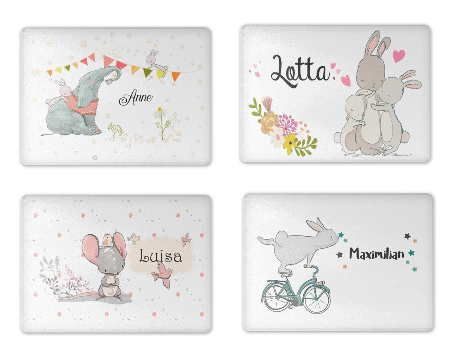 Board sperboard breakfast board gift breadboard bunny mouse elephant kids for girl boy personalized with name-n printed