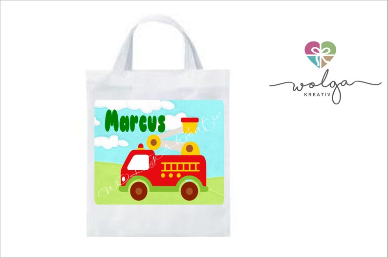 Fabric bag with names children fire engine personalized many motifs  kindergarten school
