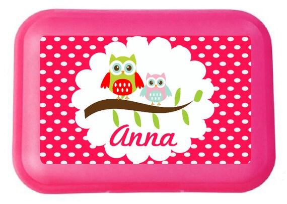 Boîte à lunch personnalisé OWL sur le nom de la branche et qui sépare le Web déjeuner boîte boîte à lunch Wesperdose enfants