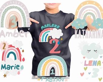 T-Shirt 1 2 3 4 4 5 6 Birthday Birthday Shirt Girl Boy Rainbow