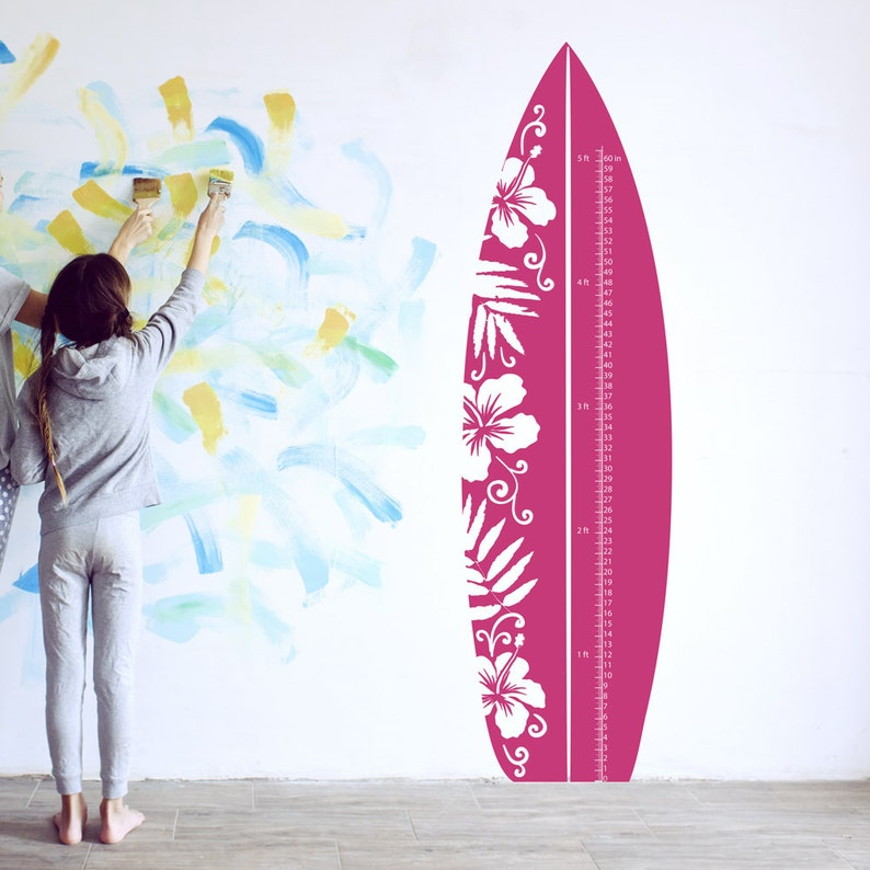 Hibiscus Surfboard Growth Chart Wall Decal Growth Chart Decal for Nursery ~ Item 0431