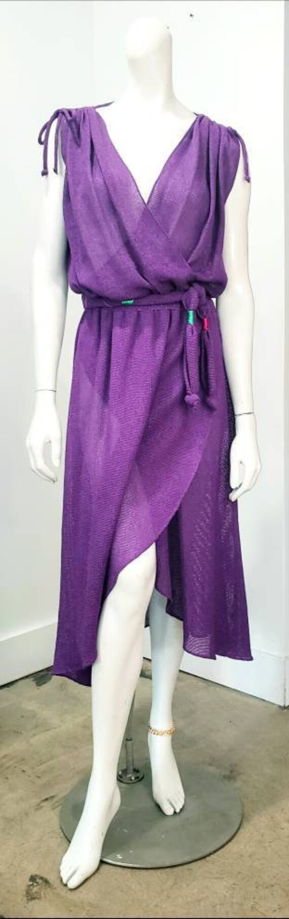 Vintage 70s DISCO Purple Studio 54 Dancing Woven D