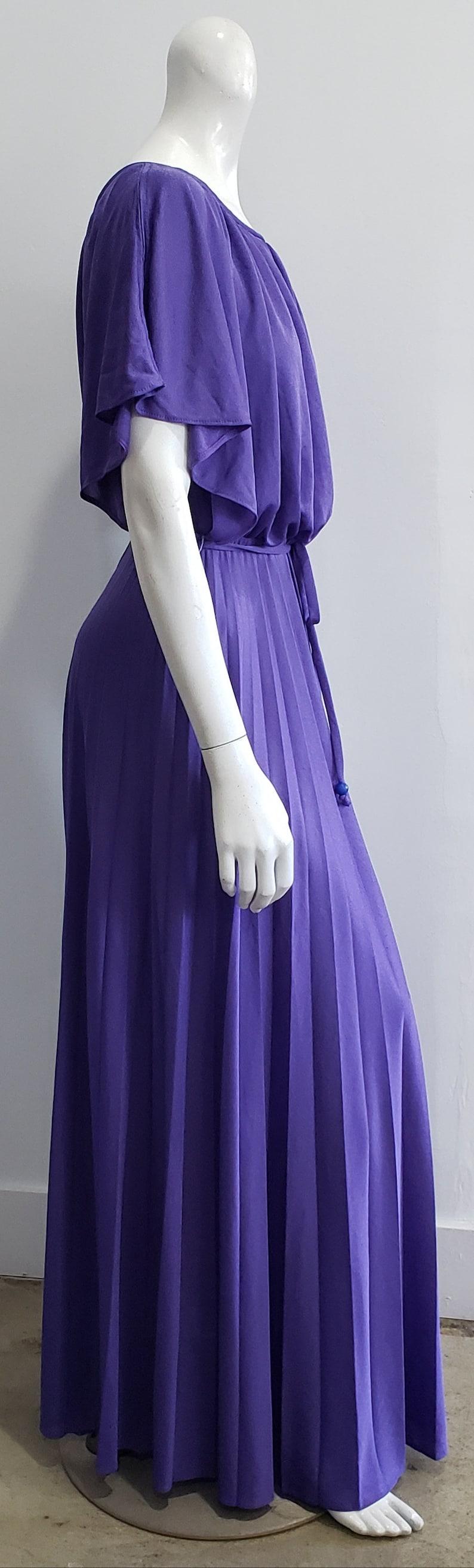 Vintage 70/'s Purple Boho Hippie Sunburst Pleated Blouson Flutter Sleeve Maxi M