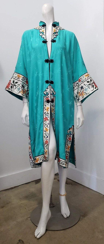Vintage Turquoise  Blue Silk Kimono Hayashi Lined Unused with Sash 1960s