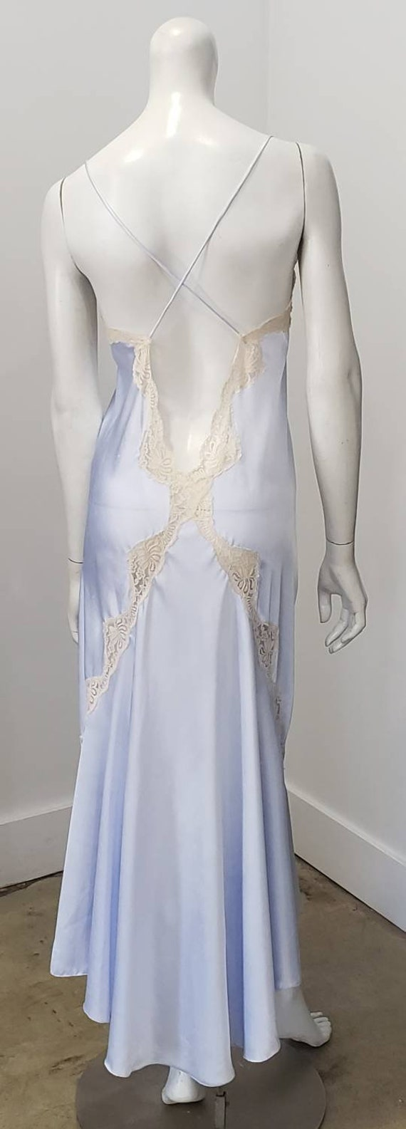 Vintage Glam Powder Blue Deep V Cream Lace Open Ba