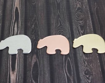 Bear Stamping Blanks - Copper - NuGold - Aluminum Stamping Blanks - Metal Stamping Supplies - Hand Stamping Blanks