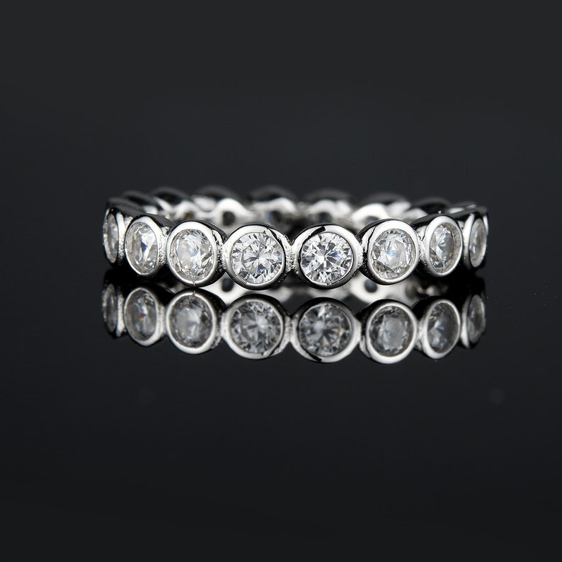 Sreema London 925 Sterling Silver Bubble Wedding Eternity Ring Band with Cubic Zirconia Stone