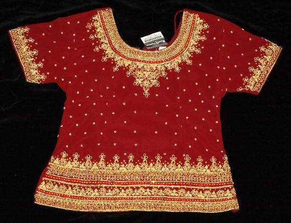 New Mumtaj Fashion Hand Beaded Red Lehenga Choli S