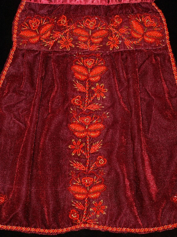 Vintage Hand Made Hungarian Claret Red Velvet Bon… - image 3