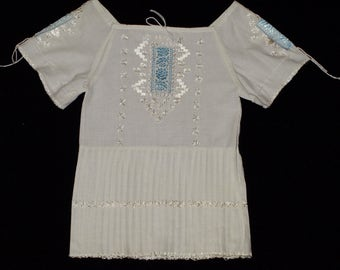White Hungarian Hand Embroidered Wearable Folk Girls Dress Size for a 3-4 year old