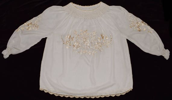 Hungarian Kalocsa Floral Embroidered Beige Boho Fo