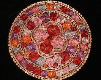 Traditional Vintage Hungarian Silk Matyo Floral Embroidered Round Tablecloth from the 50s