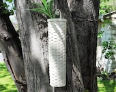 Vintage White Woven Split Wood Wicker Hanging Wall Pocket Basket planter vase country cottage rustic farmhouse Bohemian rustic country decor