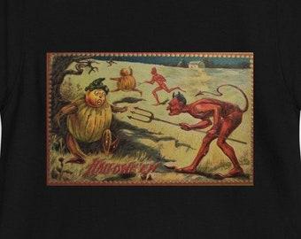 Vintage Retro Style Halloween Short-Sleeve Unisex T-Shirt Devil Pumpkin Men's Women's