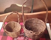 Easter Two small vintage wicker basket for succulent planters dolls Boho farmhouse country market handled
